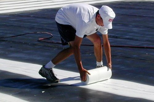 Part of the membrane roof restoration process.