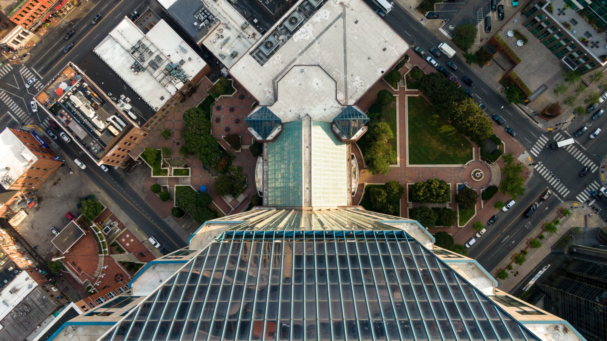 Areal view of commercial roofing